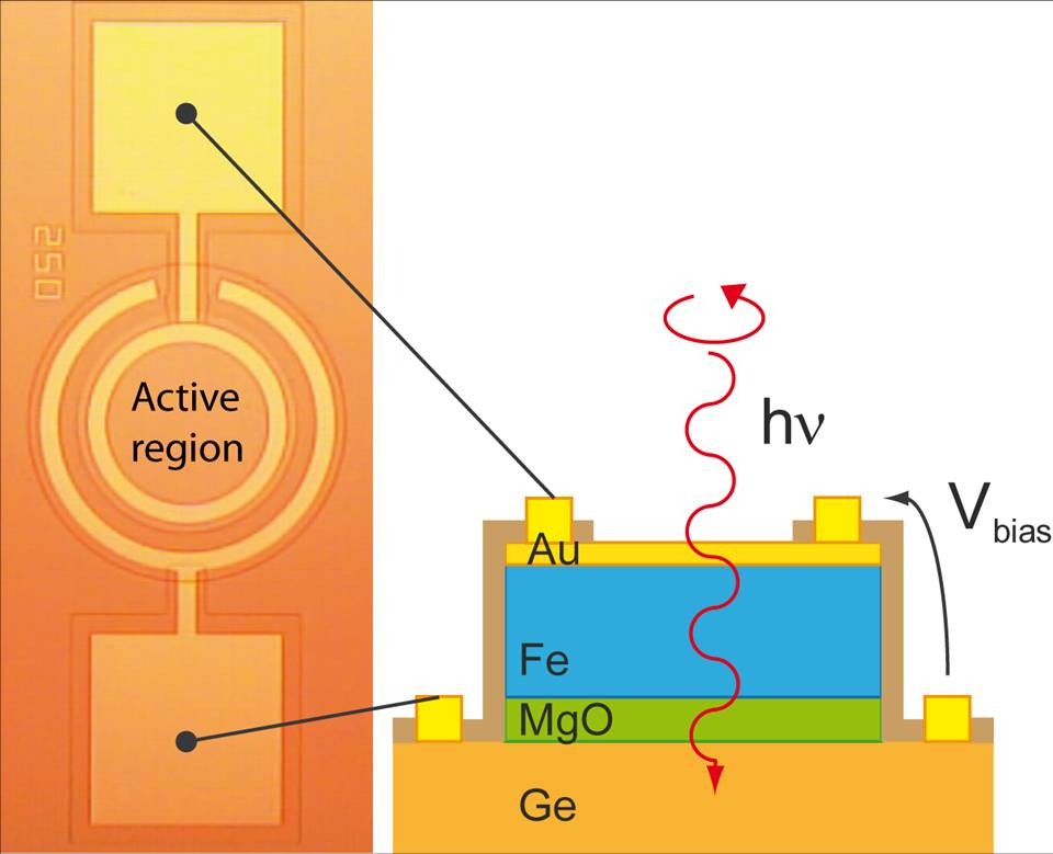 Operation of the Ge-based spin photodiode