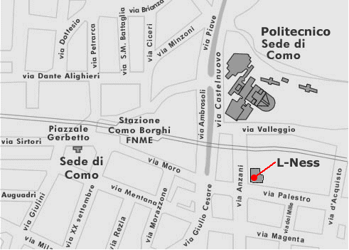 Map showing the L-NESS Como site in via Anzani